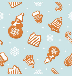 Christmas seamless pattern different gingerbread vector