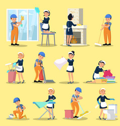 Cleaning company icons collection vector