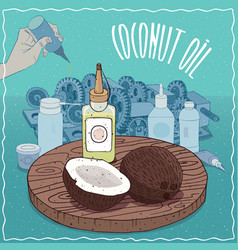 Coconut oil used as grease lubricant vector