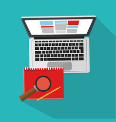 Computer and documents icon vector
