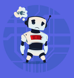 Cute robot tired low battery charge modern vector