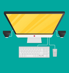 Desktop personal computer isolated on background vector