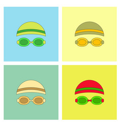 Diver swimmer equipment collection vector