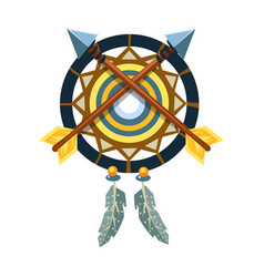Dreamcatcher charm with crossed arrows native vector