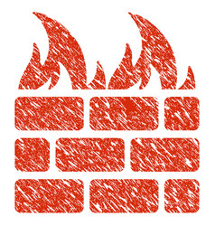 fire wall icon grunge watermark vector image