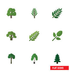Flat icon nature set of tree foliage timber and vector