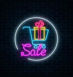 Glowing neon sign of supermarket shopping cart vector
