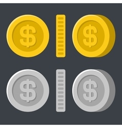 Gold and Silver Flat Style Coins Icon Set vector image