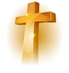 Gold christian cross vector