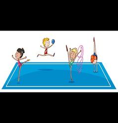 Gymnasts at the quadrangle vector