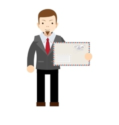 Handsome businessman holding an envelope with a vector image