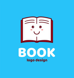 happy cute smiling open book child logo vector image