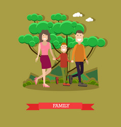 happy family in flat style vector image vector image