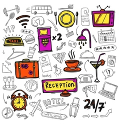 Hotel service icons doodle sketch vector