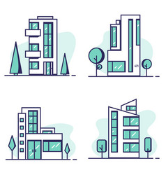 houses set line vector image vector image