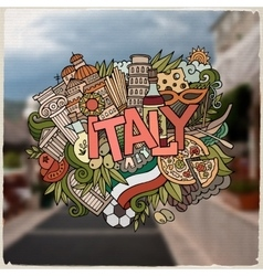 Italy country hand lettering and doodles elements vector