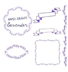 Lavander frame hand drawn set vector