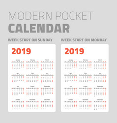 Modern pocket calendar set 2019 vector