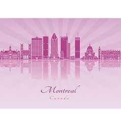 Montreal V2 skyline in purple radiant orchid vector image
