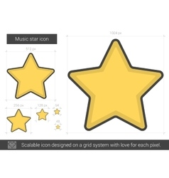 Music star line icon vector