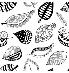 Pattern leafs black contour on white background vector