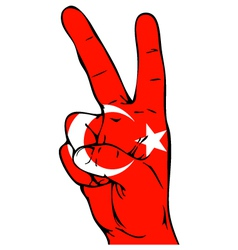 Peace Sign of the Turkish flag vector image