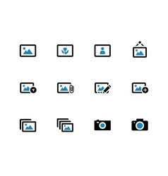 Photographs and camera duotone icons vector