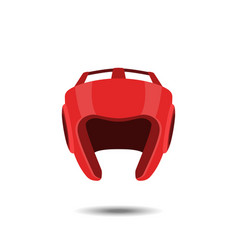 Red boxing helmet on a white background vector