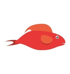 Red fish half aquatic environment vector