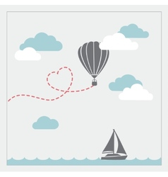 Retro card with aerostat flying in the vector image