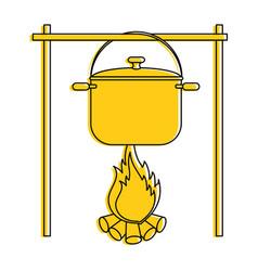 Steel cooking pot vector
