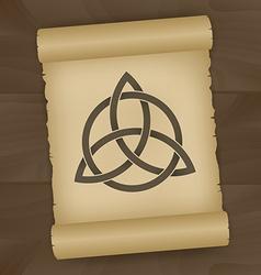 Triquetra symbol on papyrus vector