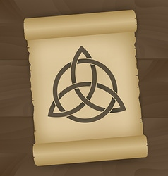 Triquetra symbol on papyrus vector image