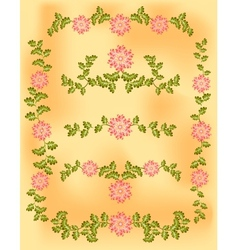 Vintage vignette of pink flowers and leaves on old vector