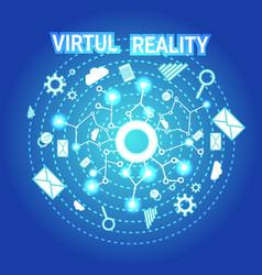virtual reality banner modern visual technology vector image
