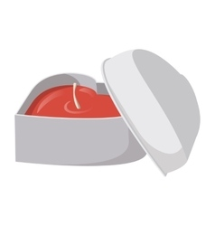 White heart shaped box with a red candle inside vector image