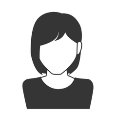 Woman girl female short hair person face head icon vector