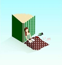 Woman sleeping with book vector