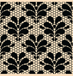 Seamless black lace pattern vector image