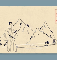 Samurai and mountains in the background vector