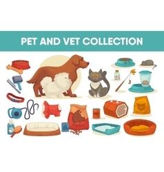 Dog cat pet stuff and supply set vector