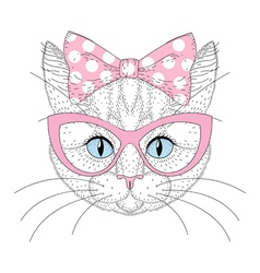 Cute cat portrait with pin up bow tie on head vector