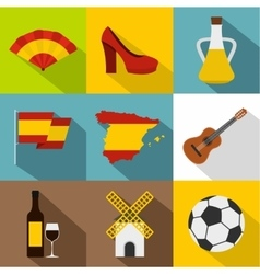 Holiday in spain icons set flat style vector