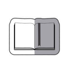 Middle shadow sticker grayscale with open book vector