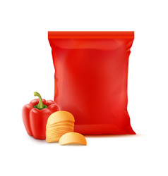 Stack of potato chips with paprika and plastic bag vector