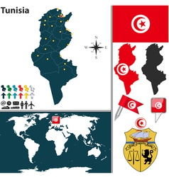 Tunisia map world vector