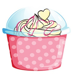 A sweet cupcake inside the pink container vector