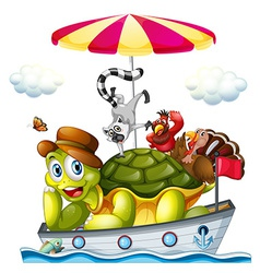 Animals on boat vector image