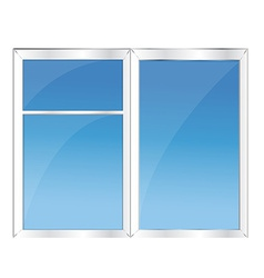 Window with blue sky vector