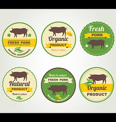 Badges pork organic product design template vector